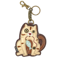 Chala Cat with Fish Whimsical Key Chain Coin Purse Bag Fob Charm