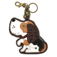 Chala Beagle Puppy Dog Whimsical Key Chain Coin Purse Bag Fob Charm