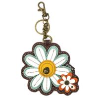 Chala Daisy Flower Whimsical Key Chain Coin Purse Bag Fob Charm
