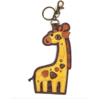 Chala Gentile Giraffe Whimsical Key Chain Coin Purse Bag Fob Charm
