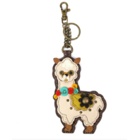 Chala Llama Whimsical Key Chain Coin Purse Bag Fob Charm