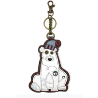 Chala Polar Bear Whimsical Key Chain Coin Purse Bag Fob Charm