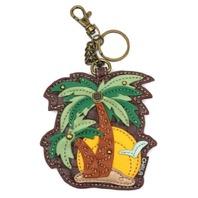 Chala Tropical Palm Trees Whimsical Key Chain Coin Purse Bag Fob Charm