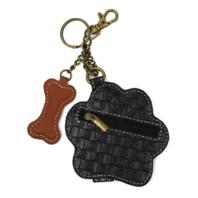 Chala Paw Print in White Whimsical Key Chain Coin Purse Bag Fob Charm