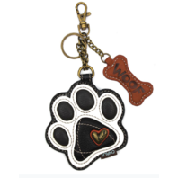 Chala Paw Print in White Whimsical Key Chain Coin Purse Bag Fob Charm