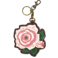 Chala Soft Pink Rose Flower Whimsical Key Chain Coin Purse Bag Fob Charm