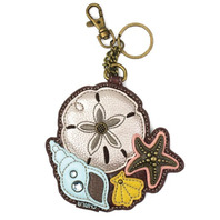 Chala Seashell Nautical Ocean Life Whimsical Key Chain Coin Purse Bag Fob Charm