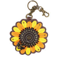 Chala Sunflower Whimsical Key Chain Coin Purse Bag Fob Charm