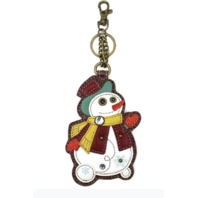 Chala Frosty Snowman Whimsical Key Chain Coin Purse Bag Fob Charm
