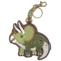 Chala Triceratops Dinosaur Whimsical Key Chain Coin Purse Bag Fob Charm