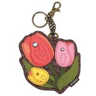 Chala Tulip Cluster Flower Garden Whimsical Key Chain Coin Purse Bag Fob Charm