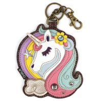 Chala Mystical Unicorn Whimsical Key Chain Coin Purse Bag Fob Charm