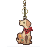 Chala Yellow Lab Puppy Dog Whimsical Key Chain Coin Purse Bag Fob Charm