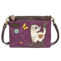 Charming Chala Skinny Cat Kitty Kitten w Butterfly Crossbody Bag Handbag Purse
