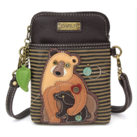 Charming Chala New Brown Bear Mom and Baby Cell Phone Purse Mini Crossbody Bag