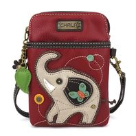 Charming Chala Burgundy Lucky Elephant Cell Phone Purse Mini Crossbody Bag