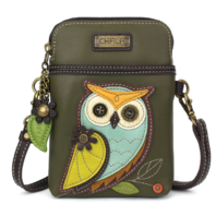 Charming Chala Olive Hoot Owl Cell Phone Purse Mini Crossbody Bag