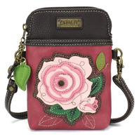 Charming Chala Pink Rose Flower Bloom Cell Phone Purse Mini Crossbody Bag
