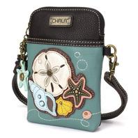 Charming Chala Teal Sea Shells Nautical Cell Phone Purse Mini Crossbody Bag