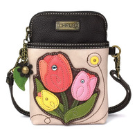 Charming Chala Ivory Tulips Flower Blooms Cell Phone Purse Mini Crossbody Bag