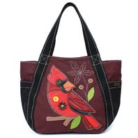 Chala Purse Handbag Leather & Canvas Carryall Tote Bag Red Cardinal Bird