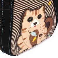 Chala Purse Handbag Leather & Canvas Carryall Tote Bag Kitty Kitten Cat with Fish