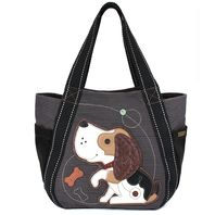 Chala Purse Handbag Leather & Canvas Carryall Tote Bag Puppy Dog with Bone