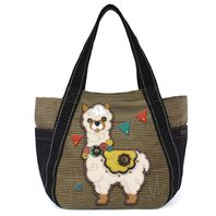 Chala Purse Handbag Leather & Canvas Carryall Tote Bag Festive Llama
