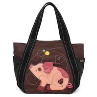 Chala Purse Handbag Leather & Canvas Carryall Tote Bag Little Pig Piggy