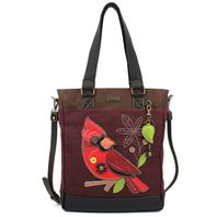 Charming Chala Purse Handbag Leather & Canvas Work Tote Bag Red Cardinal Bird