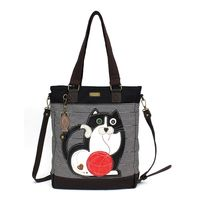 Charming Chala Purse Handbag Leather & Canvas Work Tote Bag Fat Cat