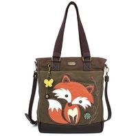Charming Chala Purse Handbag Leather & Canvas Work Tote Bag Foxy Fox