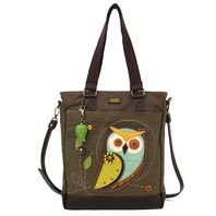 Charming Chala Purse Handbag Leather & Canvas Work Tote Bag Hoot Hoot Owl