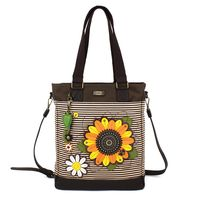 Charming Chala Purse Handbag Leather & Canvas Work Tote Bag Sunflower