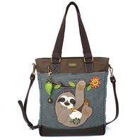 Charming Chala Purse Handbag Leather & Canvas Work Tote Bag Silly Sloth