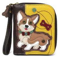 Charming Chala Corgi Puppy Dog Purse Wallet Credit Cards Coins Wristlet