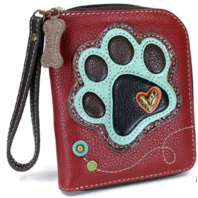 Charming Chala Puppy Dog Paw Print Purse Wallet Credit Cards Coins Wristlet