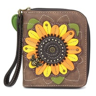 Charming Chala Sunflower With Bee Purse Wallet Credit Cards Coins Wristlet