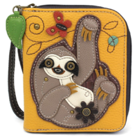 Charming Chala Silly Sloth Purse Wallet Credit Cards Coins Wristlet