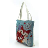 Woven Fox Mom  and Baby Love Tote Handbag Bag Purse