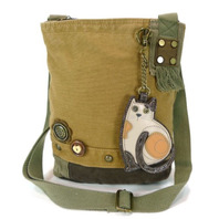 Chala Purse Handbag Brown Canvas Crossbody with Key Chain Tote Bag Kitty Cat