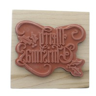 Inkadinkado Merry Christmas with Holly Wooden Rubber Stamp
