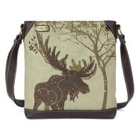 Charming Chala Safari Print Canvas Crossbody Mountain Moose Bag Handbag Purse