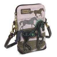 Charming Chala Equestrian Horse Gray Cell Phone Purse Mini Crossbody Bag