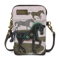 Charming Chala Equestrian Horse Gray Cell Phone Purse Mini Crossbody Bag