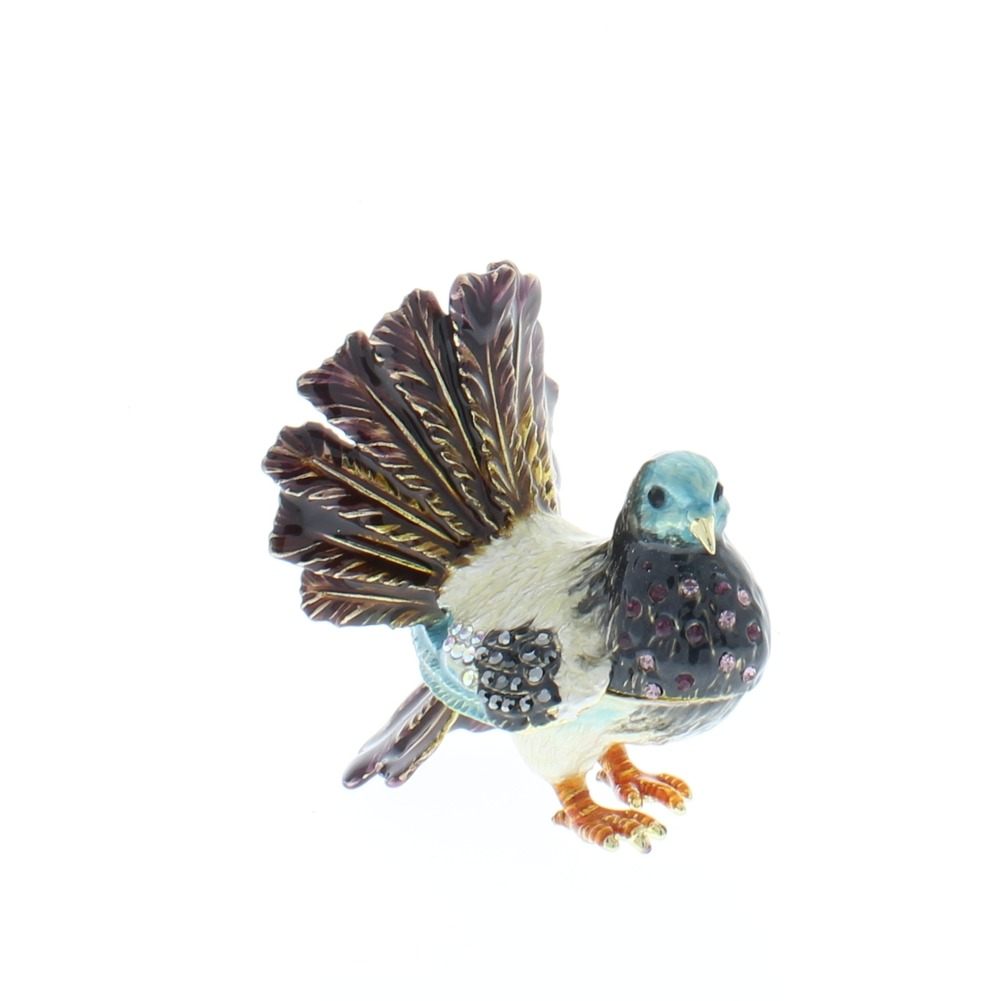 Jeweled Male Dove in Mating Stance Ciel Hinged Collectible Trinket Box