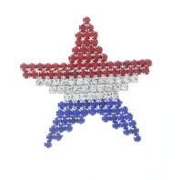 Red White and Blue with Silver Tones Rhinestone Bling Pin Brooch Broach