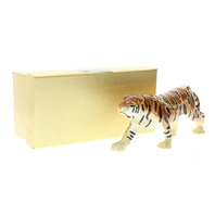 Striped Tiger with Rhinestones Collectible Hinged Trinket Box #Bhgp00169