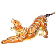 Ciel Jeweled Crouching XL Tiger Collectible Trinket Box Austrian Crystals