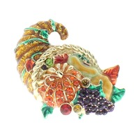Cornocopia Thanksgiving Rhinestone Gold tone Pin Brooch Broach